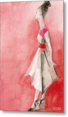 White Dress With Red Belt Fashion Illustration Art Print Metal Print by Beverly Brown