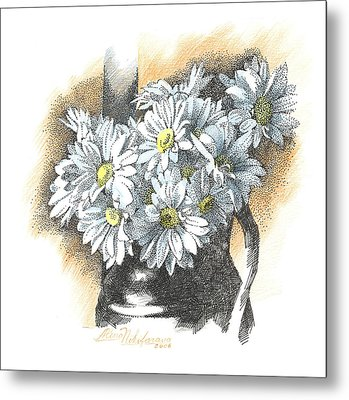 White Flowers Pointillism Drawing  Metal Print
