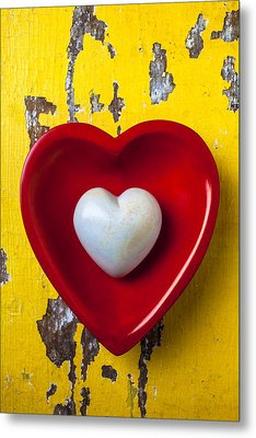 White Heart Red Heart Metal Print by Garry Gay