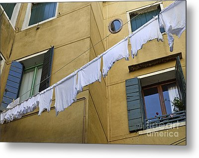 White Laundry Hanging On Clothelines Metal Print