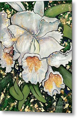 White Orchids Metal Print by Cynthia Parsons