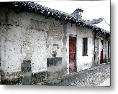 White Walls Red Doors Metal Print by Ivy Ho