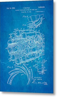Whittle Jet Engine Patent Art 1946 Blueprint Metal Print