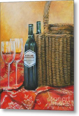 Wicker And Wine Metal Print by Cynthia Parsons