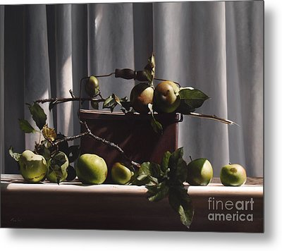 Wild Green Apples Metal Print by Larry Preston
