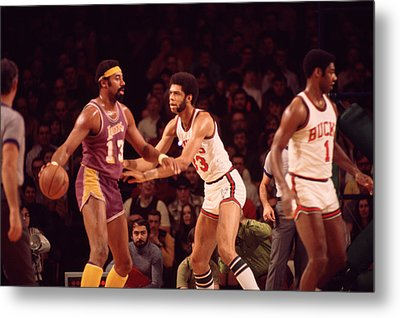 Wilt Chamberlain Guarded By Kareem Abdul Jabbar Metal Print by Retro Images Archive