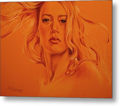 Wind. Study Of Female Head And Hair. Metal Print