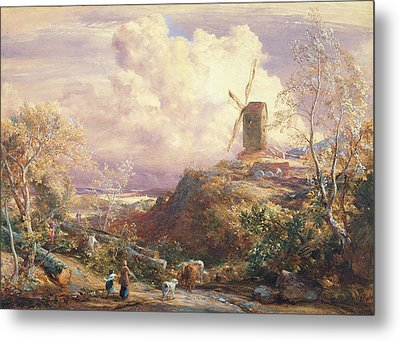 Windmill On A Hill With Cattle Drovers Metal Print by John Constable