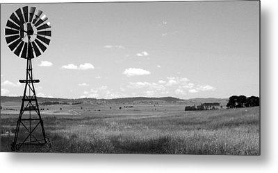 Windmill On The Plains - Black And White Metal Print by Kaleidoscopik Photography