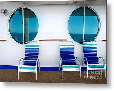Windows Reflecting The Sea Metal Print by Amy Cicconi