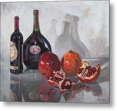 Wine And Pomegranates Metal Print