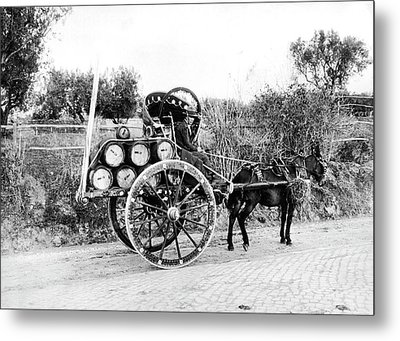 Wine Barrels To Town Metal Print by Underwood Archives