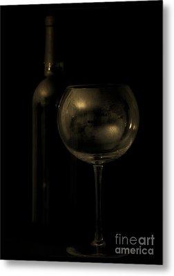 Wine Bottle Still Life Deep Red Metal Print by Edward Fielding