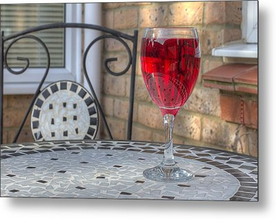 Wine Glass On Table Al Fresco Metal Print by Fizzy Image