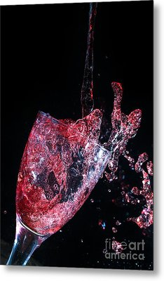 Wine Spillage Frozen In Time Metal Print by Simon Bratt Photography LRPS