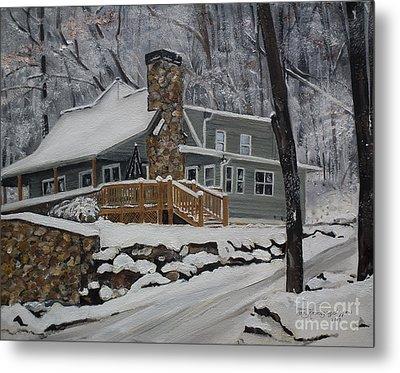 Winter - Cabin - In The Woods Metal Print by Jan Dappen