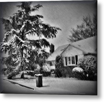 Winter In Black And White Metal Print by Mikki Cucuzzo