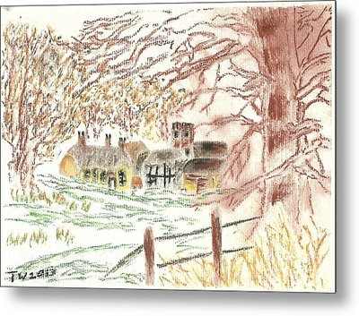 Winter In The Village Metal Print by Tracey Williams