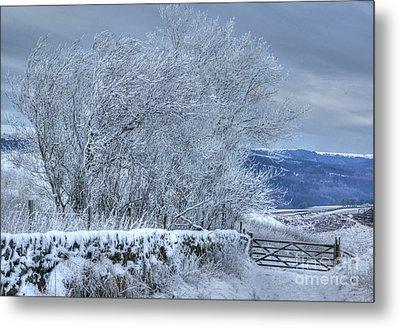 Winter Landscape Near Buxton Metal Print by David Birchall