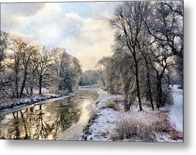 Winter Landscape With River Metal Print by Gynt