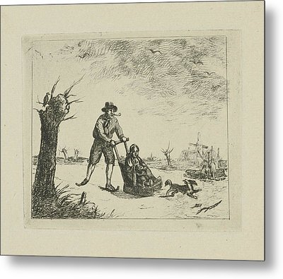 Winter Landscape With Skater, In The Background Are Two Men Metal Print