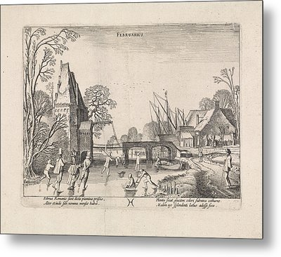 Winter Landscape With Skaters On The Ice Metal Print
