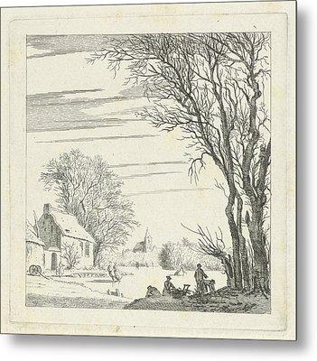 Winter Landscape With Skaters, Paulus Van Liender Metal Print