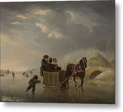 Winter Scene, Horse-sleigh On The Ice, Andries Vermeulen Metal Print by Litz Collection