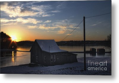 Winter Sunset At The Bog Metal Print by Gina Cormier