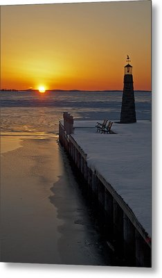 Metal Print featuring the photograph Winter Sunset On Lake Winneconne by Judy  Johnson