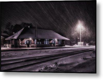 Winter Train Station  Metal Print