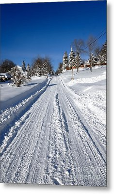 Wintery Road Metal Print by Amy Cicconi