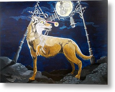 Metal Print featuring the painting Wolves Mouth  by Lazaro Hurtado