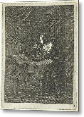 Woman Blowing At A Candle, Jan Luyken, Pieter Arentsz II Metal Print by Jan Luyken And Pieter Arentsz Ii