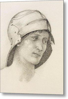 Woman In Hat, Detail From A Sketchbook Metal Print by Sir Edward Coley Burne-Jones