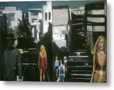 Woman In Yellow On San Francsco Street Metal Print by Harry WEISBURD
