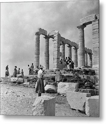 Woman Looking At The Acropolis Metal Print