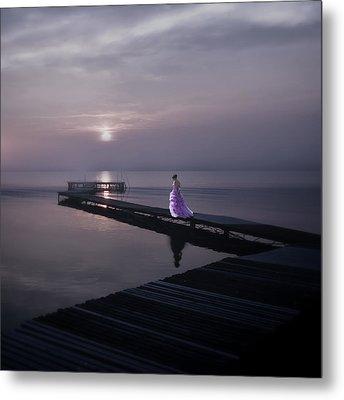 Woman On Footbridge Metal Print by Joana Kruse
