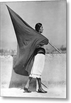Woman With Flag, Mexico City, 1928 Metal Print by Tina Modotti