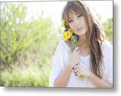 Woman With Flowers Metal Print by Brandon Tabiolo