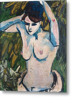 Woman With Raised Arms Metal Print by Ernst Ludwig Kirchner