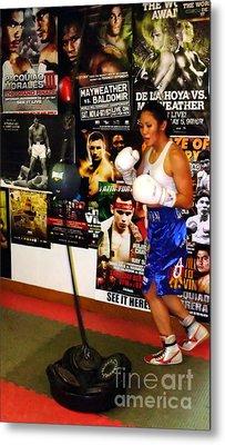 Woman's Boxing Champion Filipino American Ana Julaton Working Out Metal Print by Jim Fitzpatrick