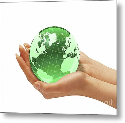 Womans Hands Holding An Earth Globe Metal Print