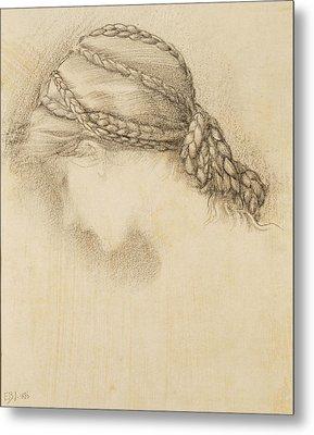 Womans Head, Detail From A Sketchbook Metal Print by Sir Edward Coley Burne-Jones