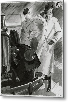 Women By A Car Metal Print by Jean Pages