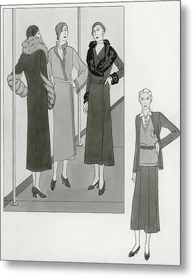 Women Modeling Designer Clothing Metal Print by Polly Tigue Francis