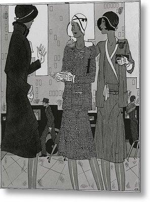 Women On A City Street Wearing Yvonne Carette Metal Print