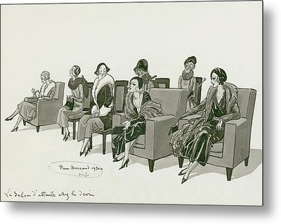 Women Sitting In A Waiting Room Metal Print by Pierre Brissaud