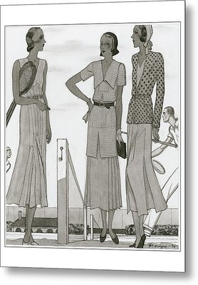 Women Wearing Designer Dresses Metal Print