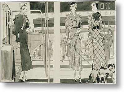 Women With Dogs By A Car Metal Print by Jean Pages